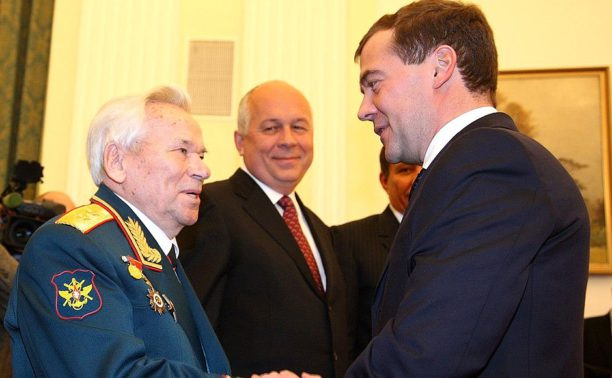 Mikhail Kalashnikov on the left
